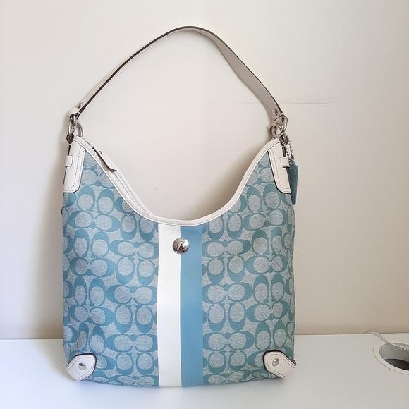 Coach F14476 Stripe Blue/White Chelsea Hobo Bag
